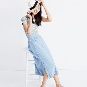 Madewell Indigo Side-Button Midi Skirt Light Blue